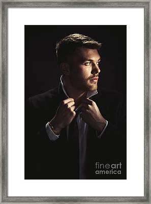 Male Model Framed Print by Amanda Elwell