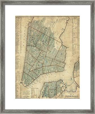 Manhattan New York Antique Vintage City Map Framed Print by ELITE IMAGE photography By Chad McDermott