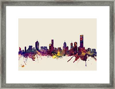 Melbourne Skyline Framed Print by Michael Tompsett