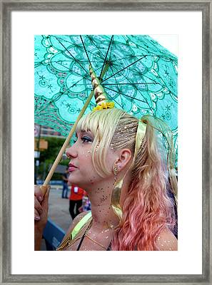 Mermaid Parade Coney Island Nyc 2017 Unicorn Costume Framed Print by Robert Ullmann