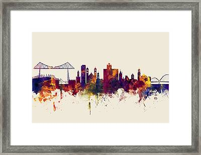 Middlesbrough England Skyline Framed Print by Michael Tompsett