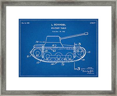 Military Tanks - Patent Drawing For The 1952 Military Tanks By L. Schindel Framed Print