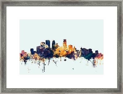 Minneapolis Minnesota Skyline Framed Print by Michael Tompsett