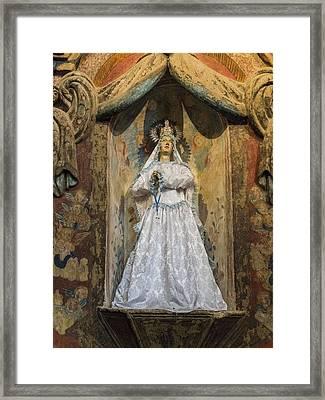 Mission San Xavier Del Bac - Interior Statue - Tucson Arizona Framed Print by Jon Berghoff