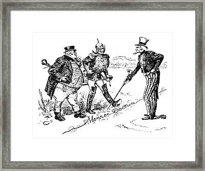 Monroe Doctrine Cartoon Framed Print