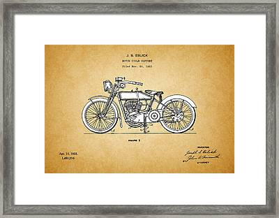 Motor Cycle Support Patent - Patent Drawing For The 1921 J.s. Eslick Motor Cycle Support Framed Print by Jose Elias - Sofia Pereira