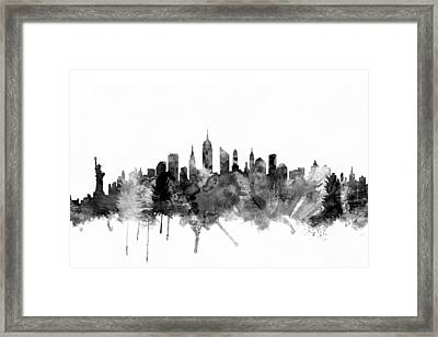 New York City Skyline Framed Print by Michael Tompsett
