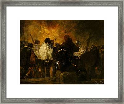 Night Scene From The Inquisition Framed Print by Francisco Goya