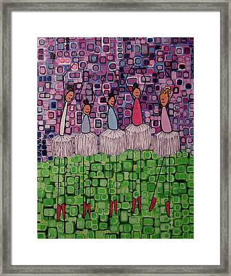 Framed Print featuring the painting 4 Non-blondes by Donna Howard