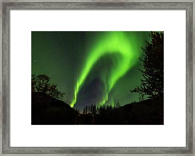 Northern Lights, Aurora Borealis At Kantishna Lodge In Denali National Park Framed Print by Brenda Jacobs