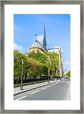 Notre Dame Cathedral Paris Streetside Framed Print