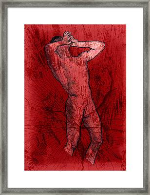 Nude Man Framed Print by Miley Art