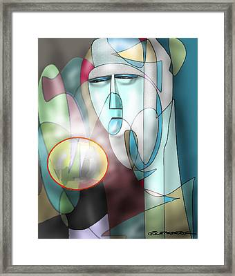 Nun Peering Into Crystal Ball Framed Print