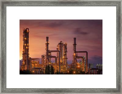 Oil Refinery At Twilight Sky Framed Print