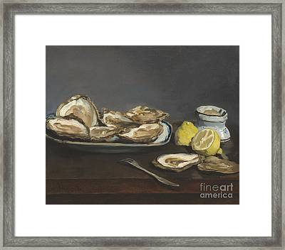 Oysters Framed Print by Edouard Manet