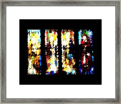 Framed Print featuring the digital art 4 Panels Of Seville Abstract by Donna Corless