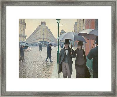 Paris Street, Rainy Day Framed Print by Gustave Caillebotte