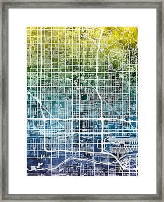 Phoenix Arizona City Map Framed Print
