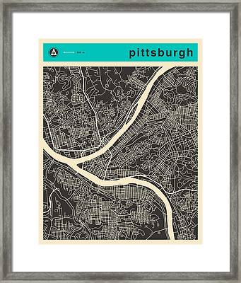 Pittsburgh Map Framed Print by Jazzberry Blue