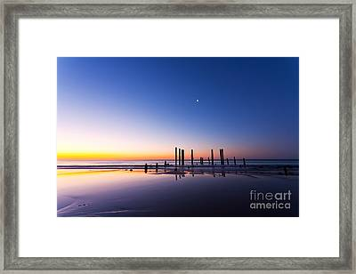 Port Willunga Jetty Ruins Sunset Framed Print by Bill  Robinson