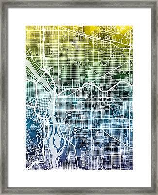 Framed Print featuring the digital art Portland Oregon City Map by Michael Tompsett