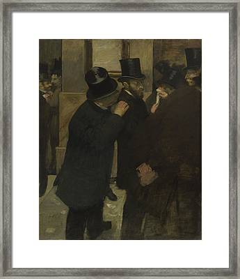 Portraits At The Stock Exchange  Framed Print by Edgar Degas