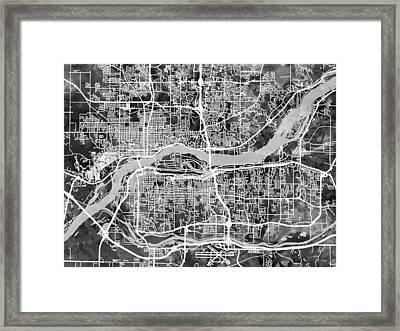 Quad Cities Street Map Framed Print by Michael Tompsett