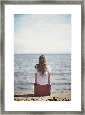 Red Suitcase Framed Print