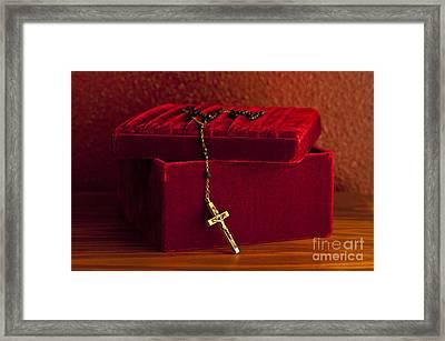 Red Velvet Box With Cross And Rosary Framed Print