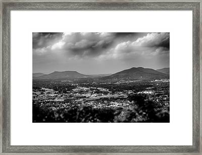 Roanoke City As Seen From Mill Mountain Star At Dusk In Virginia Framed Print