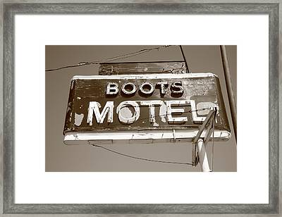 Route 66 - Boots Motel Framed Print by Frank Romeo