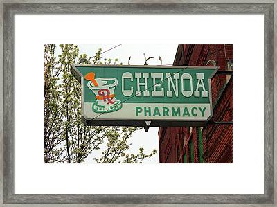 Route 66 - Chenoa Pharmacy Framed Print by Frank Romeo