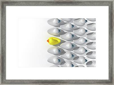 Rubber Duck Against The Flow Framed Print by Allan Swart
