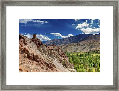 Ruins And Basgo Monastery Surrounded With Stones And Rocks Ladakh Framed Print