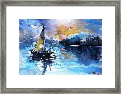 Framed Print featuring the painting Sailboat by Kovacs Anna Brigitta