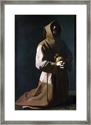 Saint Francis In Meditation Framed Print