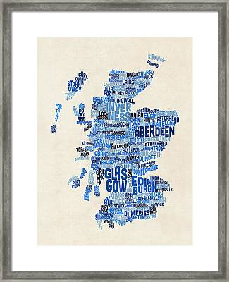 Scotland Typography Text Map Framed Print by Michael Tompsett