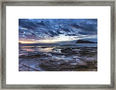 Seascape Cloudy Nightscape Framed Print