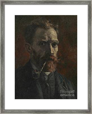 Self Portrait With Pipe Framed Print by Vincent Van Gogh