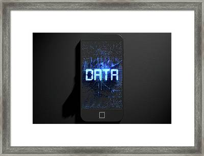 Smart Phone Emanating Data Framed Print by Allan Swart