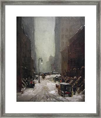 Snow In New York Framed Print by Robert Henri