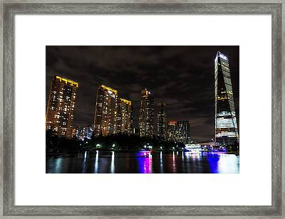 Songdo Canal Night Reflection Framed Print