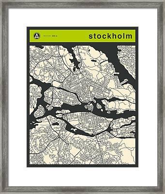 Stockholm Street Map Framed Print by Jazzberry Blue