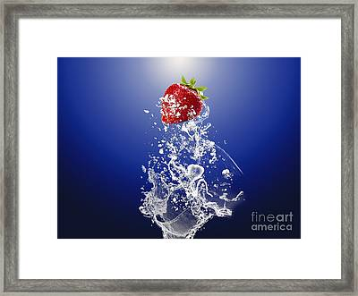 Strawberry Splash Framed Print by Marvin Blaine