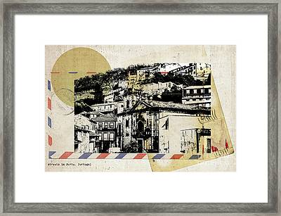 Framed Print featuring the digital art stylish retro postcard of Porto  by Ariadna De Raadt