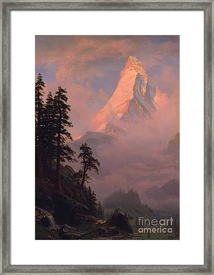 Sunrise On The Matterhorn Framed Print by Albert Bierstadt