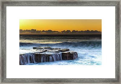 Sunrise Seascape With Cascades Over The Rock Ledge Framed Print