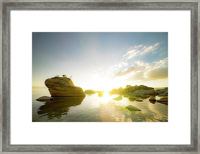 Sunset At Bonsai Rock Framed Print by Peter Irwindale