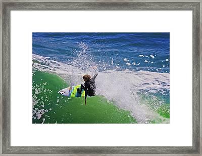 Surfing In Santa Cruz Framed Print by Gary Dance