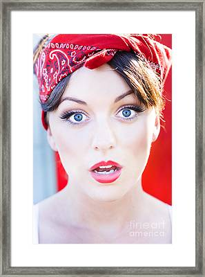 Surprised Woman Framed Print by Jorgo Photography - Wall Art Gallery